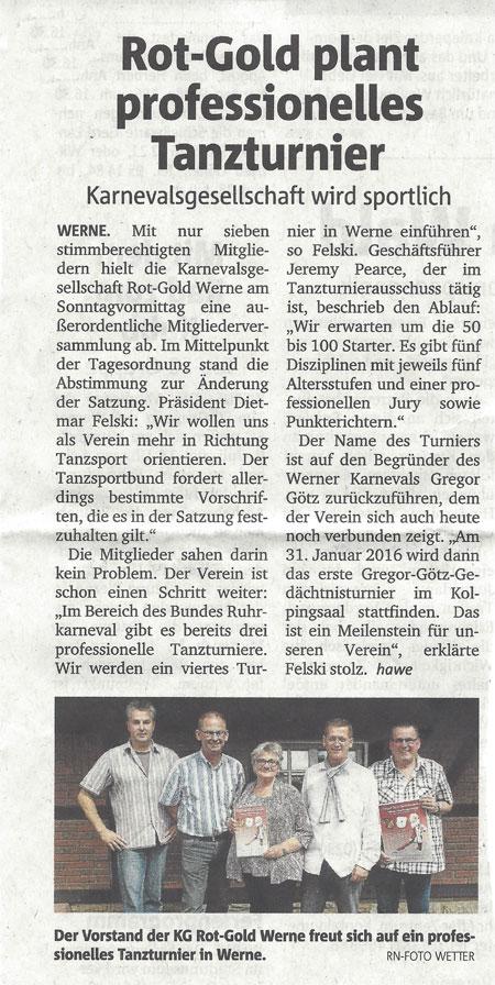 Pressebericht RN 07.07.2014  Rot Gold plant Tanzturnier