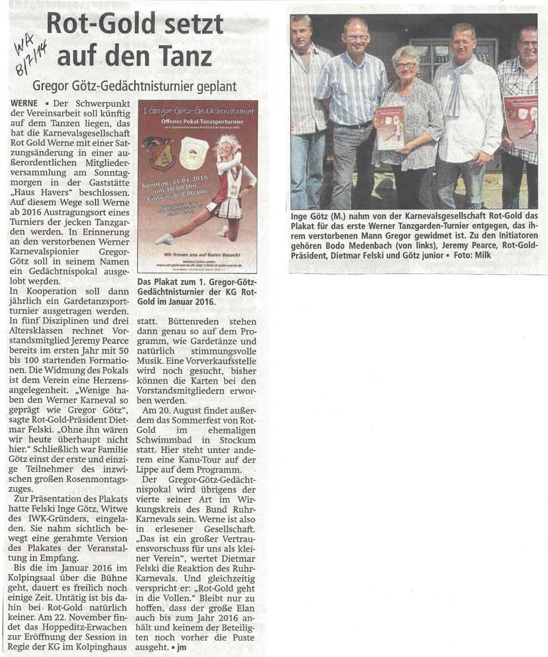 Pressebericht WA 07.07.2014  Rot Gold setzt auf Tanz