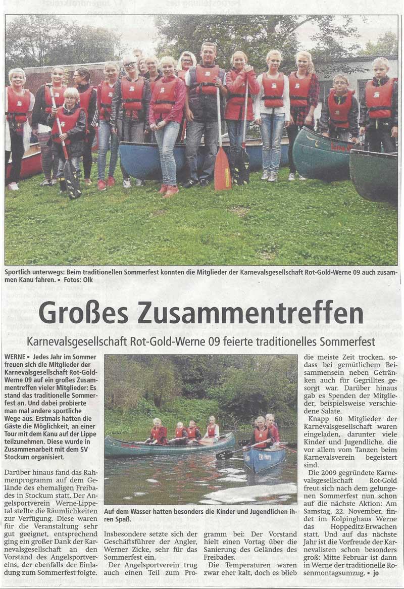 Pressebericht WA 05.09.2014 Sommerfest