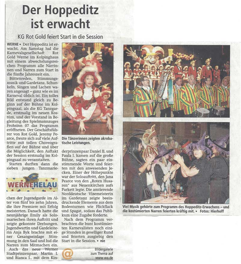 Pressebericht WA 24.11.14 Hoppeditz Erwachen